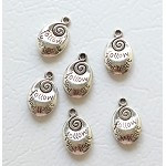 Tibetan Silver Follow Your Heart Charms, Antique Silver Pewter Double Sided Words-Spiral Charms, Bulk (6)