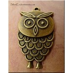 Owl Pendant, 36x21mm, Antique Brass Pewter