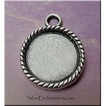 Round Bezel Pendant for Glue in and Glaze Projects, Rope-edge, 14mm Inset