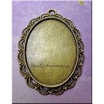 Large Fancy Oval Bezel Pendant for Mixed Media, Resin Bezel Frame, Brass