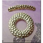 Hammered Toggle Clasp with Curved Bar, Double-Strand, Gold Finish
