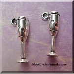 Chalice Charm with Pentagrams, 3D Wine Cup Charm with Stars