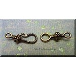 Pewter Bead Accent J-Hook and Eye Jewelry Clasp Set, Antique Gold Finish