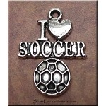 I Love Soccer Charm, Soccer Jewelry