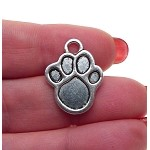 Silver Paw Charms, Antique Silver Pewter Animal Paw Print Charms, Bulk (10)