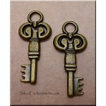 Double-Sided Key Charm, Antique Brass