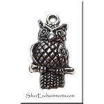 Antique Silver Pewter Dimensional Owl Charm, 22x12x4mm