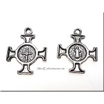 Cross Charms, 22x18mm Antique Silver Pewter Double-Sided Cross Charms, Bulk (10)