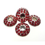 Large Hole Silver Plated Rhinestone Crystal Spacer Bead, Red Crystals