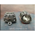 Large Hole Bail with Crystals, Antique Silver Finish