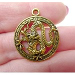 Dragon Necklace, Antiqued Gold Dragon Pendant, Dragon Jewelry