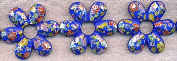 SOLDOUT - Blue Flower Beads, 45x40mm Captive Beads