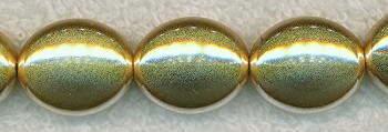 SOLDOUT - Metallic Gold Beads, 20x16mm Puff Oval Beads