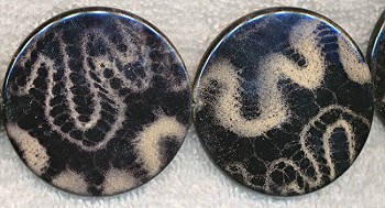 Black Animal Print Beads, 40mm Coin Beads