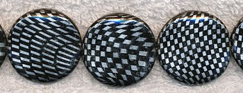 Metallic Silver and Black Beads, 30mm Coin Beads Strand