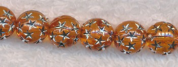 10mm Round Orange with Silver Stars Acrylic Beads