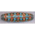 Tibetan Style Bead, Large Hole Focal Bead, 60x18mm