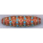 Tibetan Style Bead, Large Hole Focal Bead, 60x18mm, Red