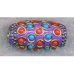 Tibetan Style Bead, Large Hole Focal Bead, 34x16mm Barrel Bead, Purple