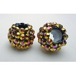 Rhinestone Crystal Studded Large Hole Bead, METALLIC ROSE GOLD
