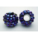 Rhinestone Crystal Studded Large Hole Beads, Metallic Cobalt Purple