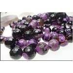 14mm Round Purple and Black Agate Beads