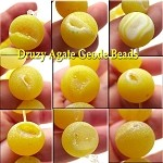 14mm Druzy Agate Geode Beads, Matte Yellow Druzy Beads (3)