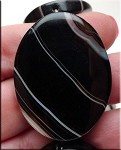 Banded Black Agate Focal Pendant Bead