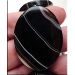 Banded Black Agate Pendant, 40x30mm Pendant Bead