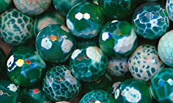 Fire Agate Beads, 14mm Faceted Round Emerald Green Fire Agate Beads