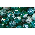 14mm Faceted Round Emerald Green Fire Agate Beads, Full Strand
