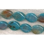 Fire Agate Beads, 26x19mm Wavy Oval Blue Fire Agate