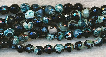 Faceted Turquoise and Black Fire Agate Beads, 6mm Round