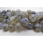 Grey Dragon Vein Agate Beads, Faceted 10mm Round