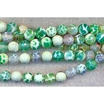 8mm Faceted Round Green Fire Agate Beads