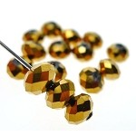 6mm Rondelle Crystal Beads, BURNISHED GOLD Abacus Beads