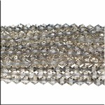 6mm Crystal Bicone Beads Strand, SILVER GREY