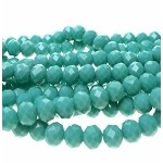 Crystal Rondelle Beads, 8mm Opaque PERSIAN TURQUOISE Abacus Beads (35)