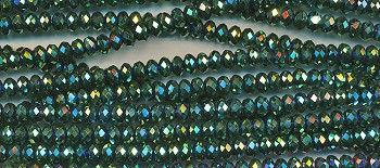 SOLDOUT - 6mm Rondelle Crystal Beads, METALLIC GREEN