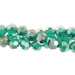 4mm Round Crystal Beads, EMERALD AB Green