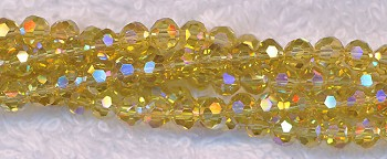 4mm Round Crystal Beads, YELLOW AB