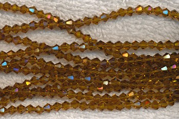 4mm Bicone GOLDEN Brown TOPAZ Crystal Beads