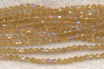 4mm Bicone CITRINE AB Crystal Beads, Yellow