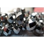 14mm Rondelle Crystal Beads, GUNMETAL SILVER