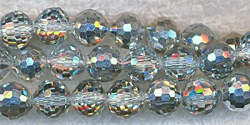 8mm Round Crystal Beads, METALIC SILVER Disco Ball Beads