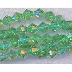 6mm Crystal Bicone Beads Strand, SEAFOAM GREEN AB