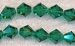 8mm EMERALD TEAL Bicone Crystal Beads Strand