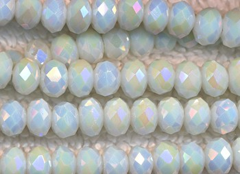 6mm Rondelle Crystal Beads, WHITE OPAL Crystal Beads