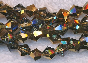 6mm Bicone BLACK DIAMOND-HALF METALLIC COPPER