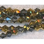 6mm Bicone BLACK DIAMOND-HALF METALLIC GOLD Crystal Beads